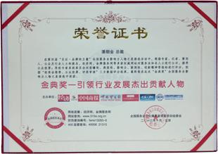 引领行业发展杰出贡献人物证书